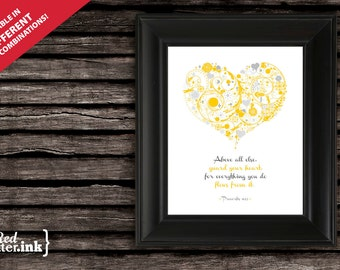 Wall Art - Guard Your Heart (3 colors available) Proverbs 4:23 - 8 x 10 Print