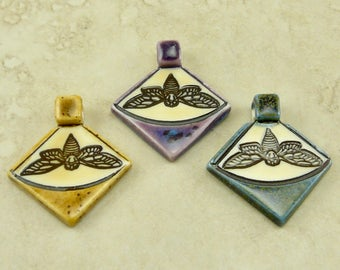 """Small Moth Triangle Pendant - Lepidoptera Butterfly Insect Bug Nocturnal Ivory Brown Clay River Designs 1 1/4"""" - I ship Internationally"""