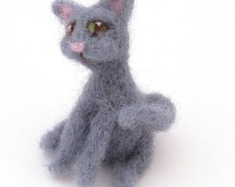 Grey cat - needle felted cats - Wool felt Miniature pet