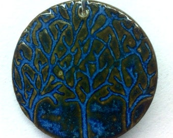 Three Trees Ceramic  Pendant with Necklace in Textured Evening glaze