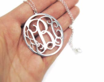 """Monogram Necklace 1.5"""" Sterling silver 925 - Personalized Initial monogram necklace. personalized gift, name necklace"""