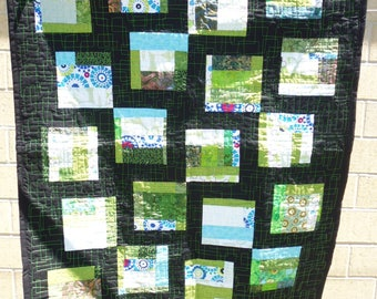 Green and black crib or lap quilt