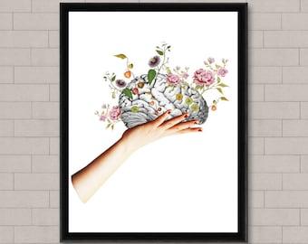 Brain art, college student gift, fantasy art print, gallery wall prints, inspirational wall art, surreal art, office decor, spiritual art