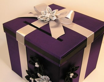 Wedding  Card Box Purple and  silver ( black )Gift Card Box  Money Box Holder-Customize your color