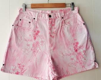 Pink Floral High Waisted Denim Shorts