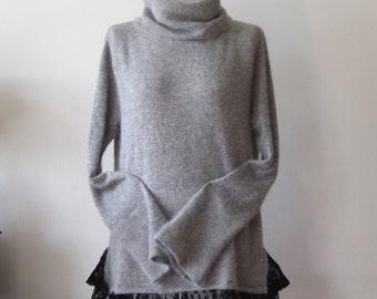 Romantic sweater tunic, gray oversized sweater, turtleneck sweater with lace, turtleneck knit tunic, bohemian clothing, avant garde tunic