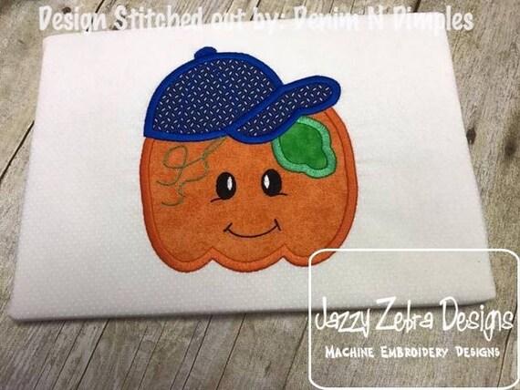 Pumpkin boy wearing baseball cap applique embroidery design - pumpkin applique design - boy applique design - halloween embroidery design
