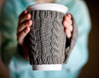 Knit Starbucks Cup, Coffee Sleeve, Cabled Coffee Cup, Reusable wrap mug, Knit Mug cupholder, Tea Mug Cozy, Knit Starbucks, Gifts Under 20
