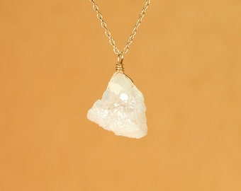 Crystal necklace - druzy necklace - drusy necklace - a teardrop snow white genuine druzy on a 14k gold vermeil or sterling silver chain