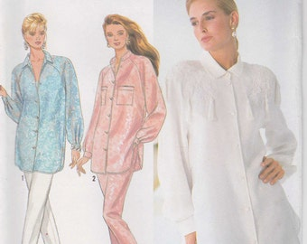 Big Shirt Pattern Button Loose Fitting Pants Misses Ladies Size 6 - 14 uncut Simplicity 9918