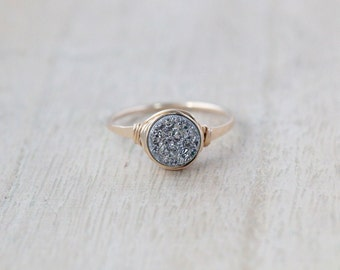 Druzy Ring Gold , Rose Gold , Sterling Silver , Platinum Gray Quartz Stone , Bezel Wrapped Stackable Rings