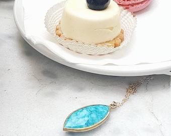 Marquise Shape Turquoise Pendant Necklace, Gift for Her, Turquoise Statement Necklace, Turquoise Necklace