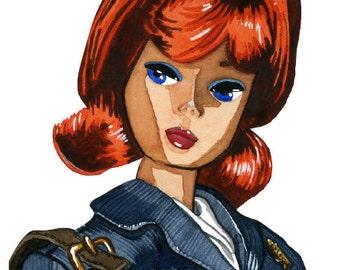 Stewardess Barbie Watercolor Print