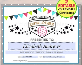 Volleyball awards etsy editable volleyball certificates instant download volleyball award printable girls volleyball team participation awards sports yadclub Image collections