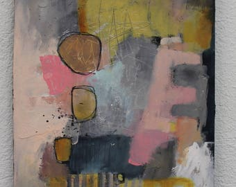 """Contemporary Abstract in soft colors 12 x 16   on cradled wood  """"One Love""""  Original by artist and author Jodi Ohl"""