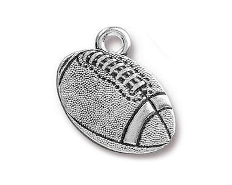 2 TierraCast Football 11/16 inch ( 18 mm ) Silver Plated Pewter Charms Pendants