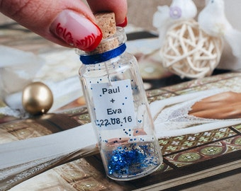Party favors for kids Message in a bottle Boy birthday party favors Blue favors Fairy pixie glitter Blue sparkle Wedding favors