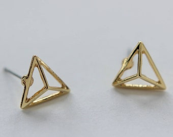 Pointy Triangle Earring Studs Gold Plated