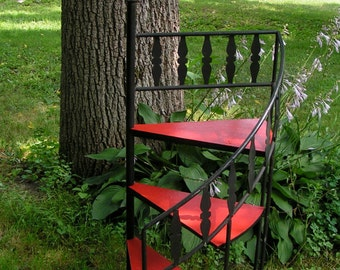70s Standing SPIRAL Staircase Shelf Black Metal and Red PICKUP ONLY