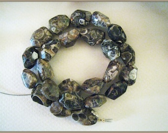 Turitella Agate Nuggets - 13.5 inch Strand - 24 beads - Approximately 15mm x 10mm
