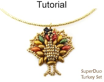 New SuperDuo Beading Pattern - Beaded Turkey Thanksgiving Tutorial - Earrings Necklace - Simple Bead Patterns - SuperDuo Turkey Set #27399