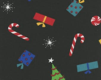 SP Christmas Cheer Present Candy Tree Toss on Black 100% Cotton Fabric by the yard (M266)