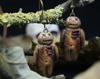 earrings vaudou dolls - Couleur-lavande polymer clay jewelry Halloween