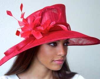 """Red Sun Hat - """"Alexandria"""" Red Fascinator Sun Hat w/ mesh flowers and feathers"""