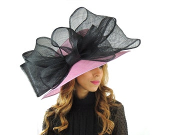 Lilac & Black MagPie Hat for Kentucky Derby, Weddings  (40 colours available)