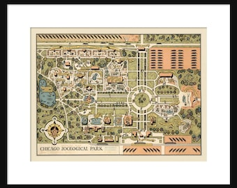 Chicago Map - Brookfield Zoo - Poster - Print - Cartoon Map - Vintage Chicago Map