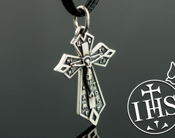 Sterling Silver Cross Pendant, 925 Silver Crucifix Necklace, Handcrafted Christian Jewelry