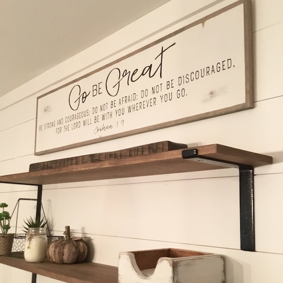 GO BE GREAT 1'X4' sign | distressed shabby chic painted wooden sign | painted wall art | Joshua 1:9