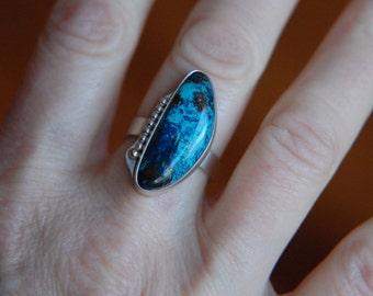 Large Stone Ring Shattuckite Ring Metalwork Ring Gemstone Ring Metalwork Jewelry Shattuckite Jewelry