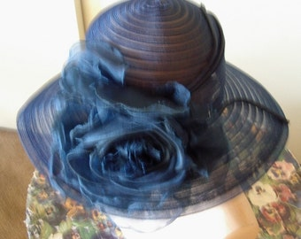 Navy Horsehair Brimed Vintage 60's Cloche/ Silk Rose Trim   Item #817  Hats