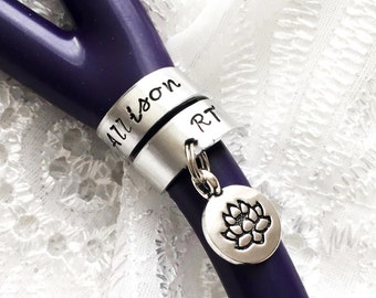 Stethoscope ID Ring with Charms, Stethoscope ID Tag, Lotus Stethoscope Wrap Ring, Nurse Gift, Doctor Gift,  Personalized Stethoscope Ring