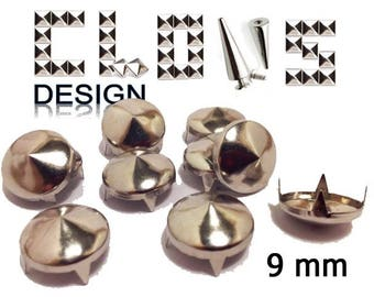 Nails customisation X 150 cone (9mm) silver clothing claw nails