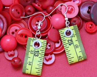 Tape Measure Earrings in Yellow - Statement Jewelry created with Upcycled Measuring Tape - Dangle Earrings - Repurposed - Trashion - Crafty