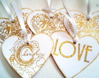 Wedding Gift tags: Stampin Up tags - Heart Gift tags - gold - Purple Hearts - red hearts - LOVE - handmade - Large - hand stamped - Hearts