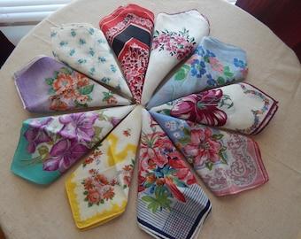 Beautiful Vintage Lot 10 Floral Hankies Handkerchiefs Farmhouse wedding