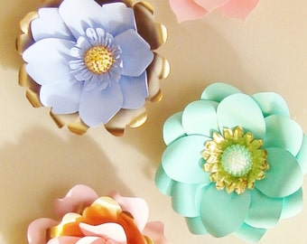 6 Mini Paper Flowers with Jewel Centres - Baby nursery decor, paper flowers, small paper flowers, paper flower wall, flower wall art