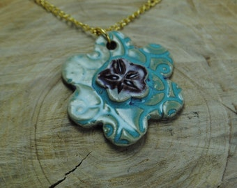 Handcrafted Ceramic Necklace   Flower Pendant with Gold Chain