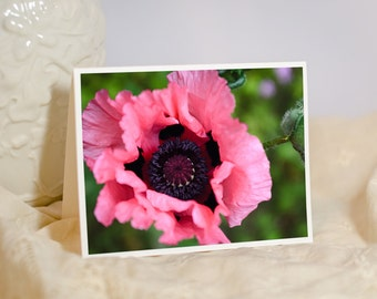 Flower Greeting Card - Pink Poppy - Nature Photo Notecard - Floral Photography - Large Flower Note Card for Her - Blank or Personalised Card