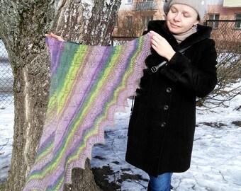 Handmade shawl «Ethereal triangular shawl», knitting, knit, knitted shawl, gift shawl, wool shawl, handknitted shawl