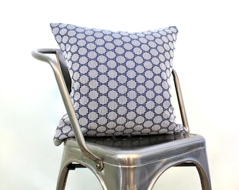 Navy and White Woven Dot Printed Pillow Cover, 18 x 18