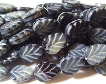 Jet Marbled Grey Czech Glass Leaves (12)