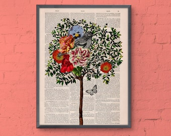 Tree with Bird Print on Vintage Book page,wall decor dictionary page illustration book print ANI220