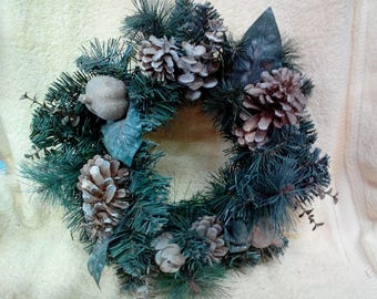 Candle Ring-12 inch, Artificial Evergreen with Gold Accents, Pine Cones, Gilted Fruit, Vintage