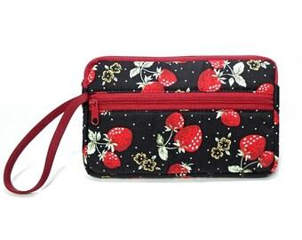 Strawberry zipper pouch, Wristlet wallet, Cosmetic bag, Cell phone bag, iPhone wallet case, Black wristlet