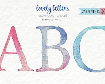 Watercolor Clip Art - Alphabet-Personal Use-Instant Download-Letters-Words-ABC- Font