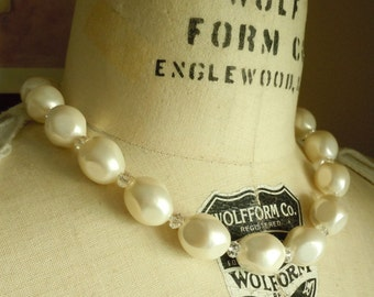 Shell Pearls and Swarovski Crystals Necklace...FREE SHIPPING